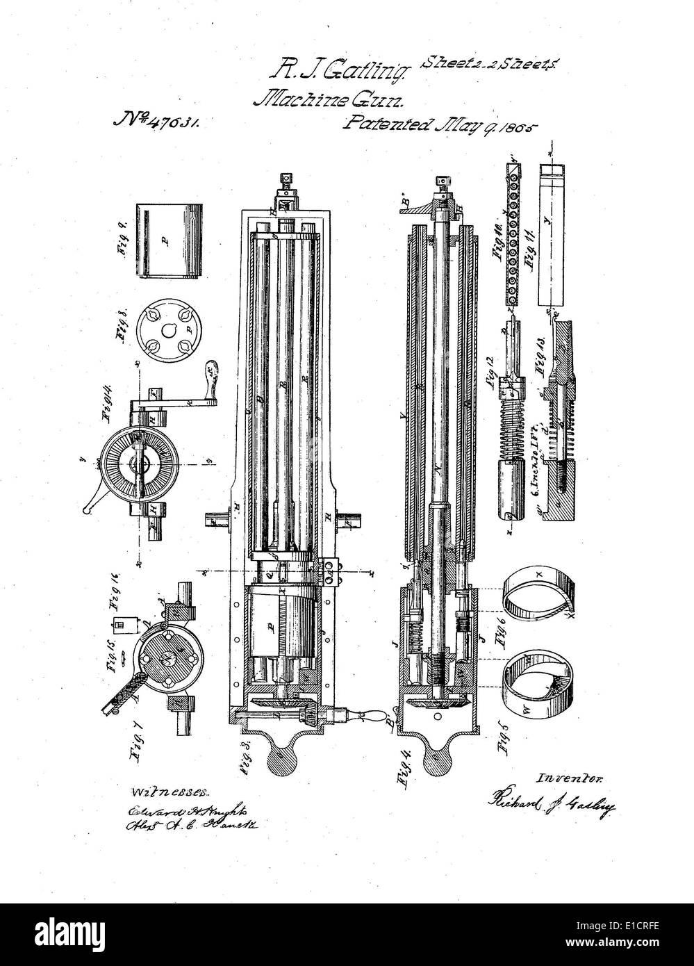 Richard Gatling's patent for the 'Gatling Gun'. RICHARD J ... on