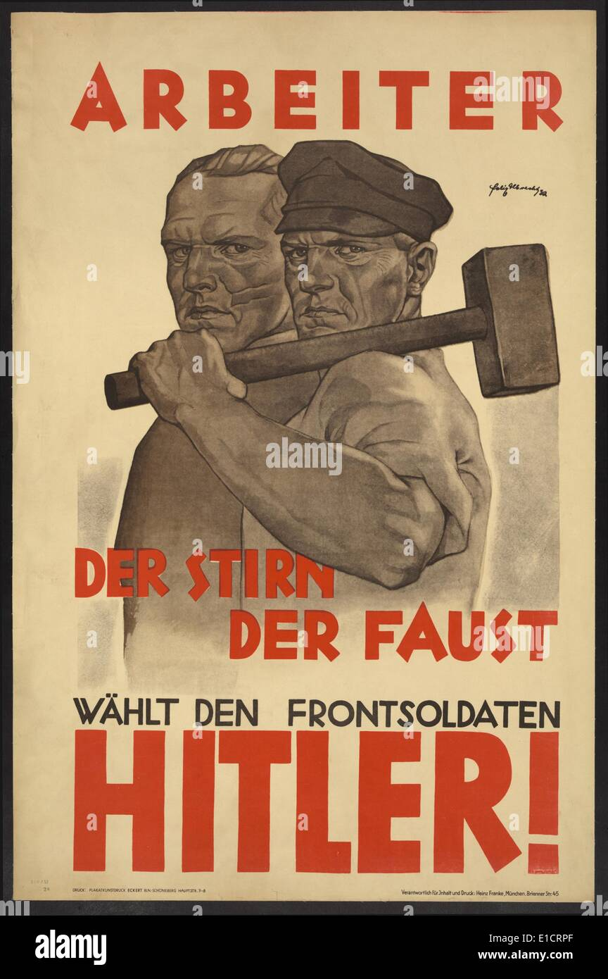 Nazi Party poster for the German Presidential election, 1932. Political campaign poster for Adolf Hitler's Nazi Party - Stock Image
