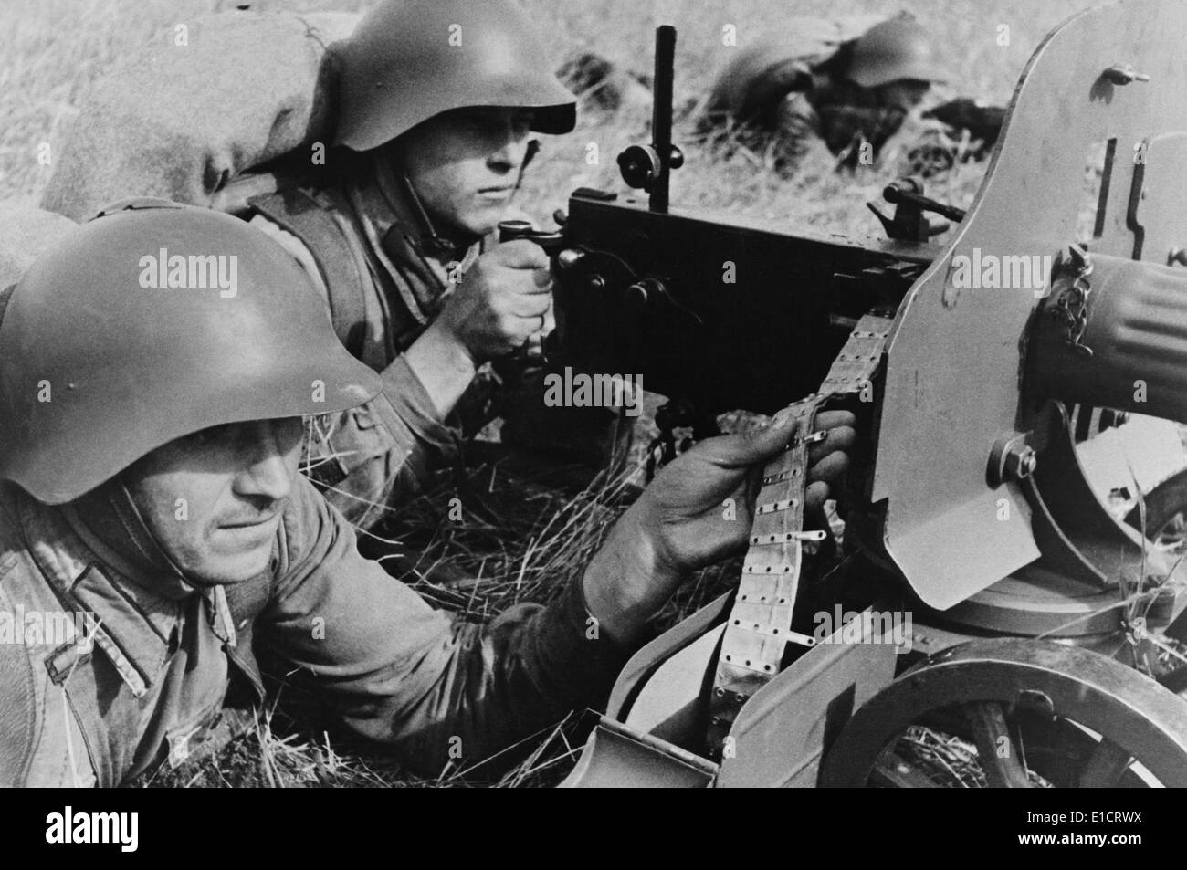 Red Army in the far eastern territory of the USSR in practical exercises, Oct. 1939. Less than two months after the signing of - Stock Image