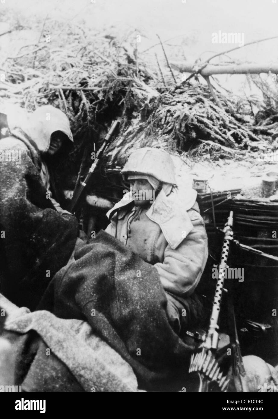 Two German sailors in a bunker south east from Lake Ilman, Soviet Union, Jan. 26, 1943. The area near was the site of the - Stock Image