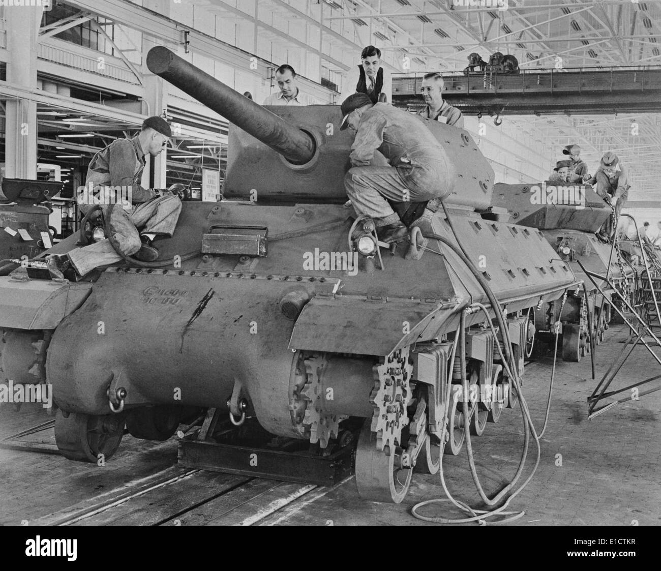 M-10 tanks in production on General Motors assembly line. American passenger cars were produced in very small numbers Stock Photo