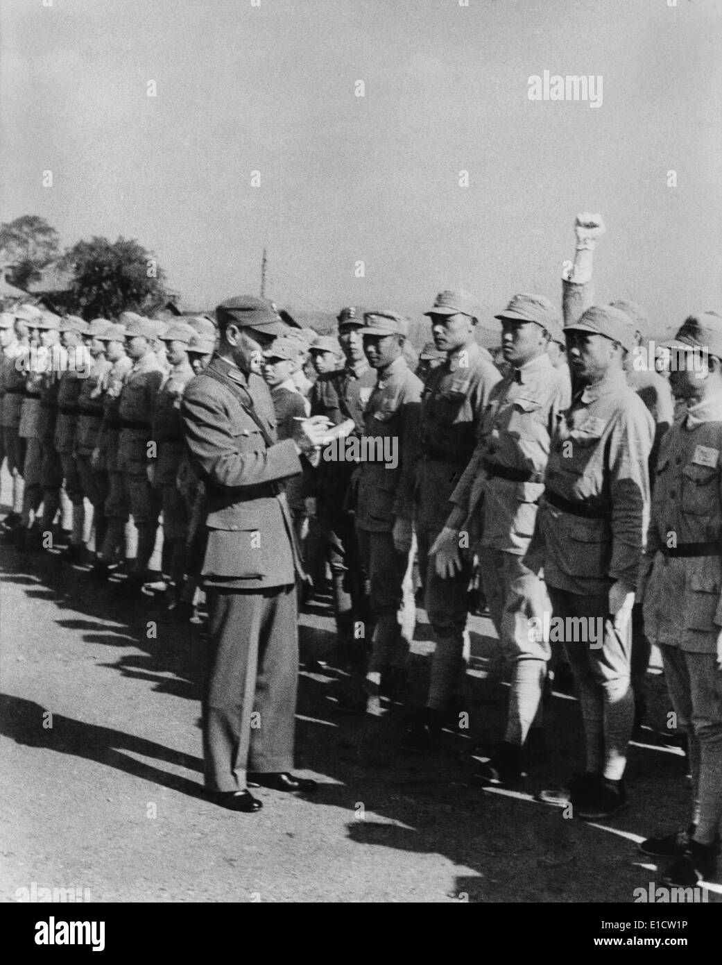 Chiang Kai-shek, political and military leader of China, inspecting army cadets in Chungking. Second Sino-Japanese Stock Photo