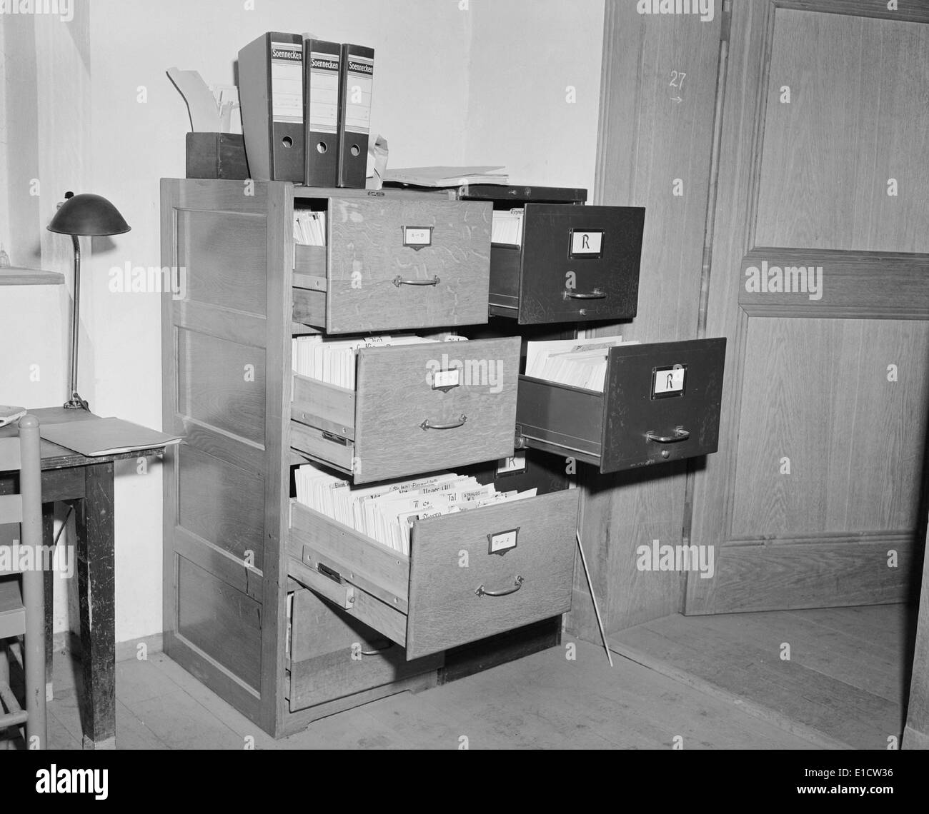 Nazi racist intellectual Alfred Rosenberg's files at the Neuschwanstein Castle. The largest Nazi art loot cache Stock Photo