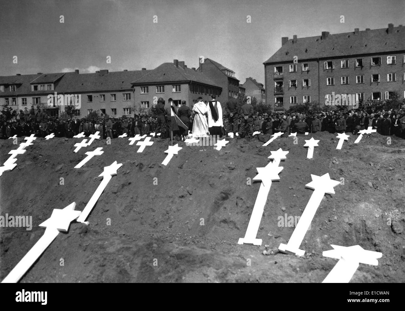 Markers are for the graves of 80 victims of the Nazis found in Ludwigslust, Germany. The entire civilian population Stock Photo