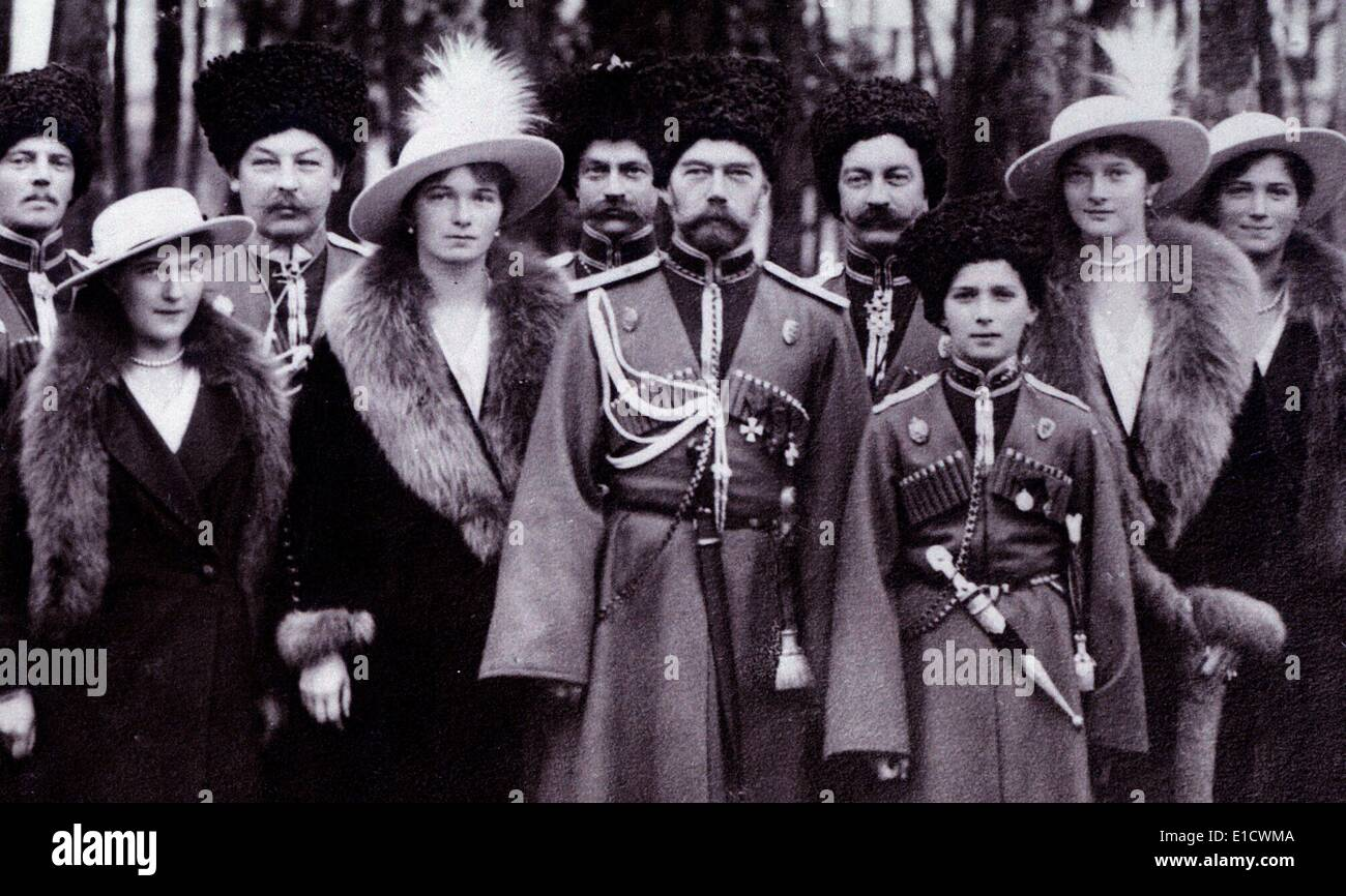 The Romanovs visiting a regiment during World War I. - Stock Image