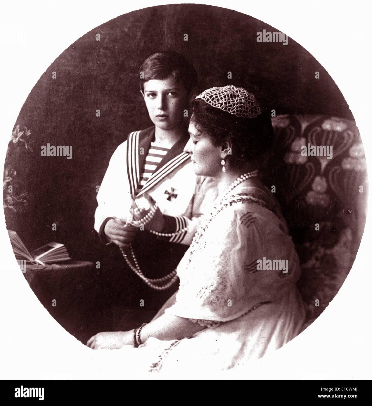 Empress Alexandra of Russia with Alexei Nikolaevich - Stock Image