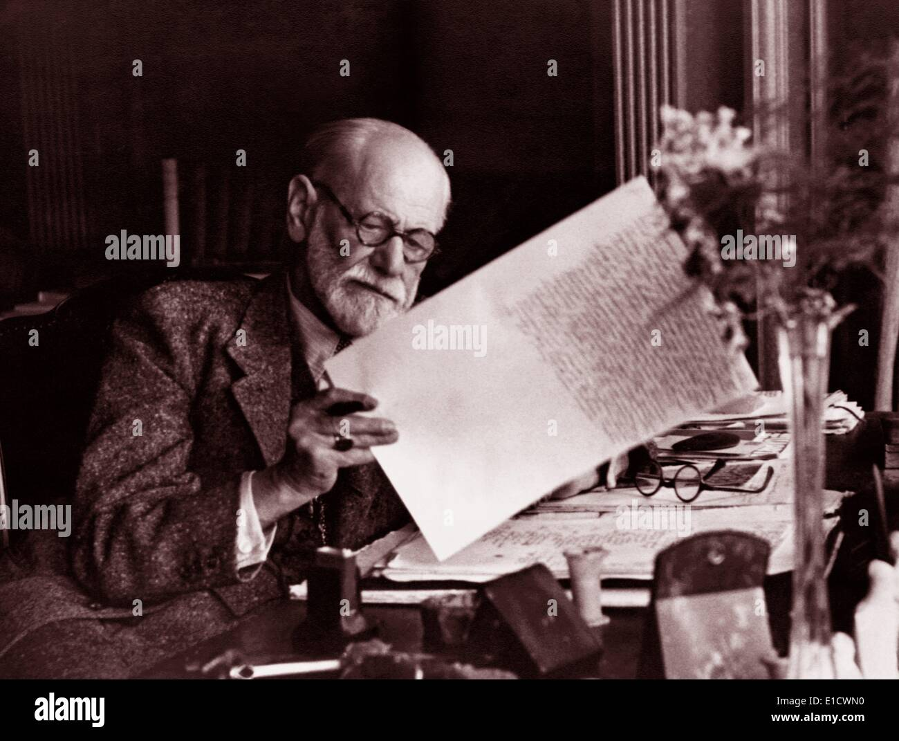Sigmund Freud (1856-1939). Austrian neurologist, known as the founding father of psychoanalysis - Stock Image