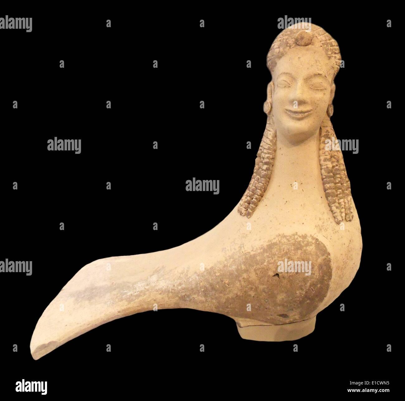 Terracotta Statuette of a Siren, Greek, Archaic period, circa 550-500 BC - Stock Image