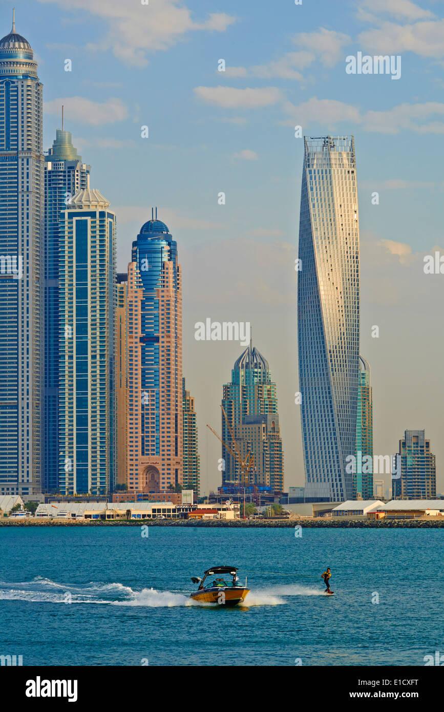 United Arab Emirates, Dubai, Marina Dubai, Cayan tower - Stock Image