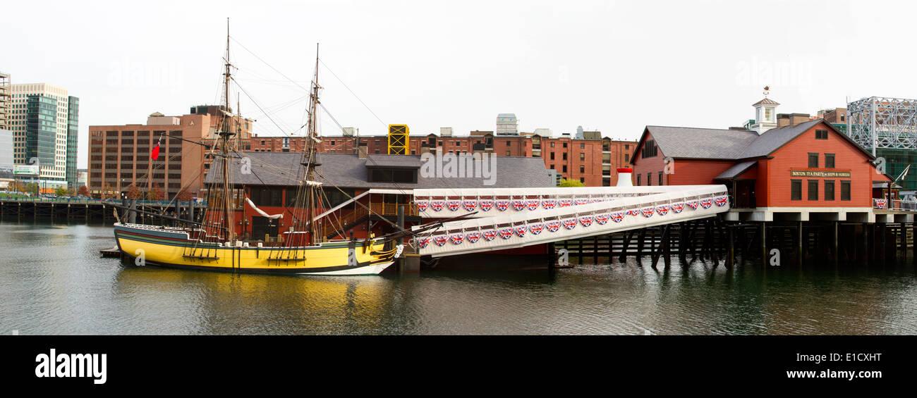 Boston Tea Party Museum and replica wharf in Boston MA - Stock Image