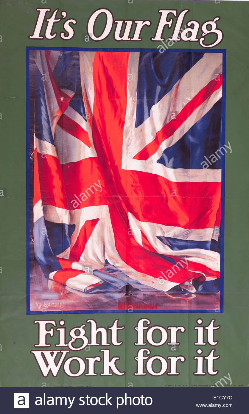 World War One recruitment and propaganda poster (original) - Stock Image