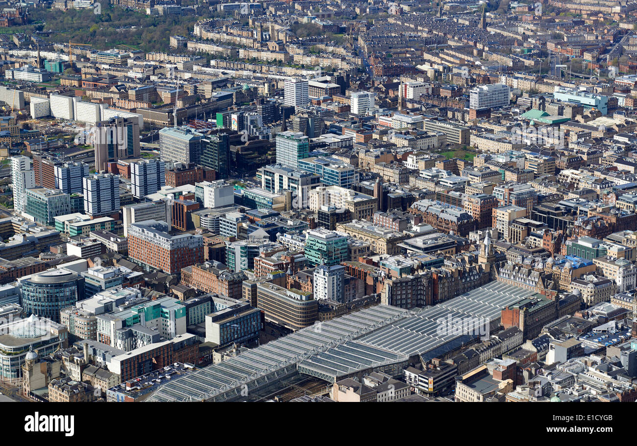 Glasgow City Centre from the air, Central Scotland, UK, looking over Central Station, from the south east - Stock Image