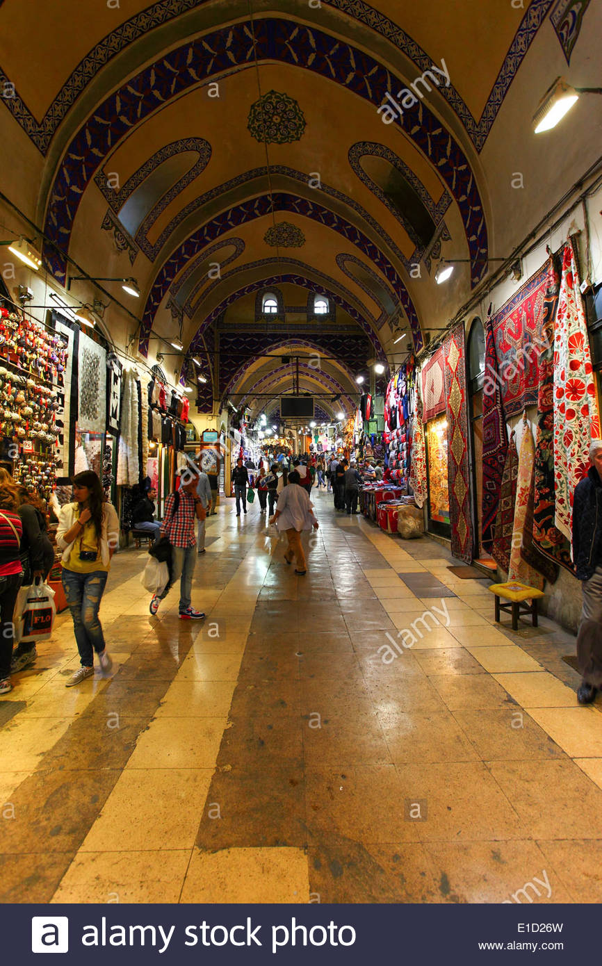 The Grand Bazaar in Istanbul is one of the largest and oldest covered markets in the world - Stock Image
