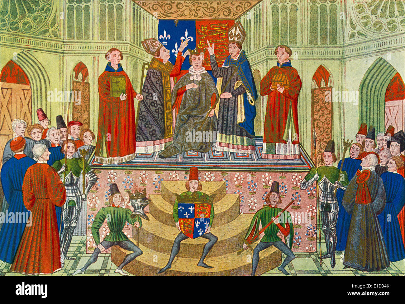 The coronation of Henry IV, Westminster Abbey, London, England in 1399. Henry IV aka Henry Bolingbroke,1367 – 1413.  King of England - Stock Image