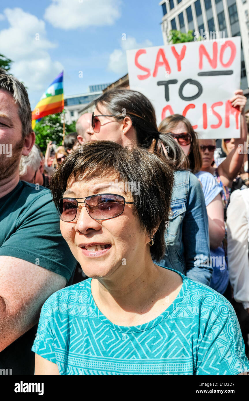 Belfast, Northern Ireland. 31 May 2014 - Thousands of people turn out for an anti-racism rally held in support of Anna Lo MLA.  Ms Lo had threatened to leave Northern Ireland because of the amount of racist attacks. Credit:  Stephen Barnes/Alamy Live News - Stock Image