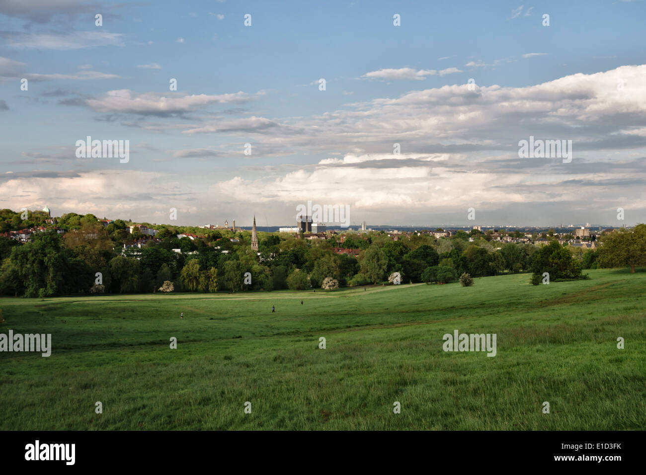 View over Parliament Hill Fields, Hampstead Heath, London, UK - Stock Image
