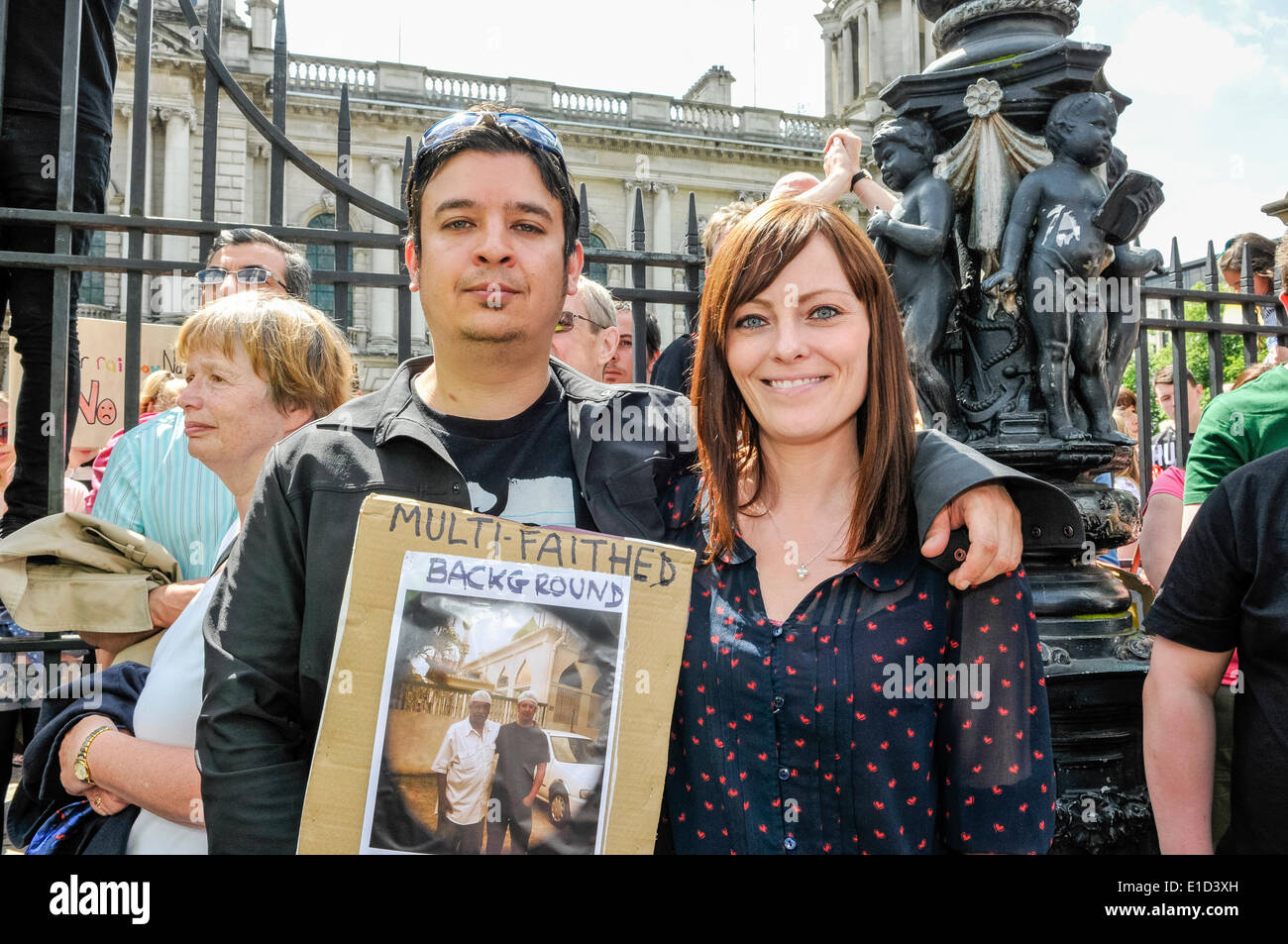 Belfast, Northern Ireland. 31 May 2014 - Nichola Mallon stands with thousands of people turned out for an anti-racism rally held in support of Anna Lo MLA.  Ms Lo had threatened to leave Northern Ireland because of the amount of racist attacks. Credit:  Stephen Barnes/Alamy Live News - Stock Image