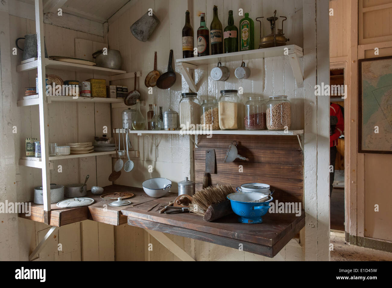 The kitchen corner of the scientific research station at Camp Livingston on the South Shetlands Islands. - Stock Image