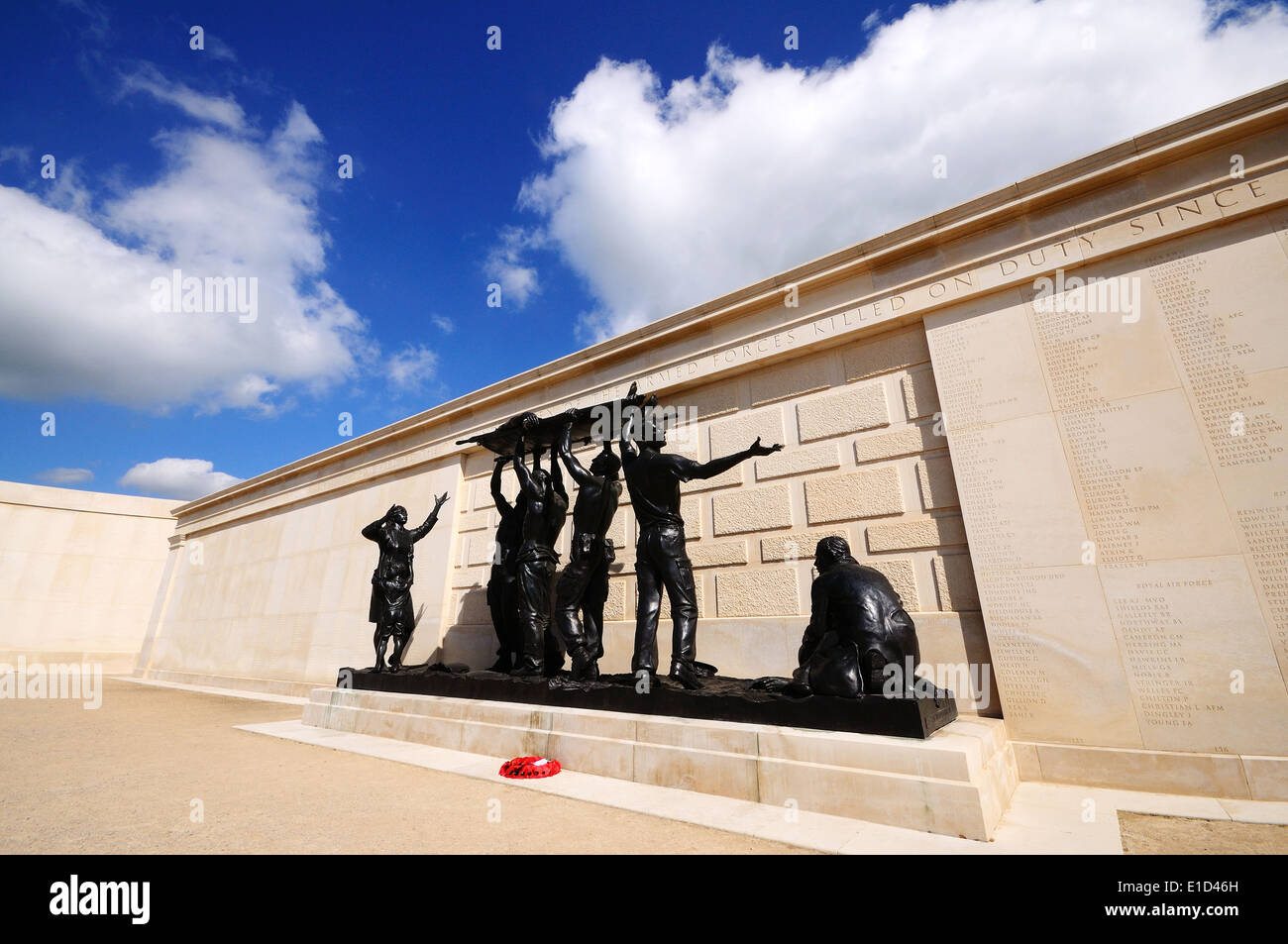 Statue inside the inner circle of the Armed Forces Memorial, National Memorial Arboretum, Alrewas, UK. - Stock Image