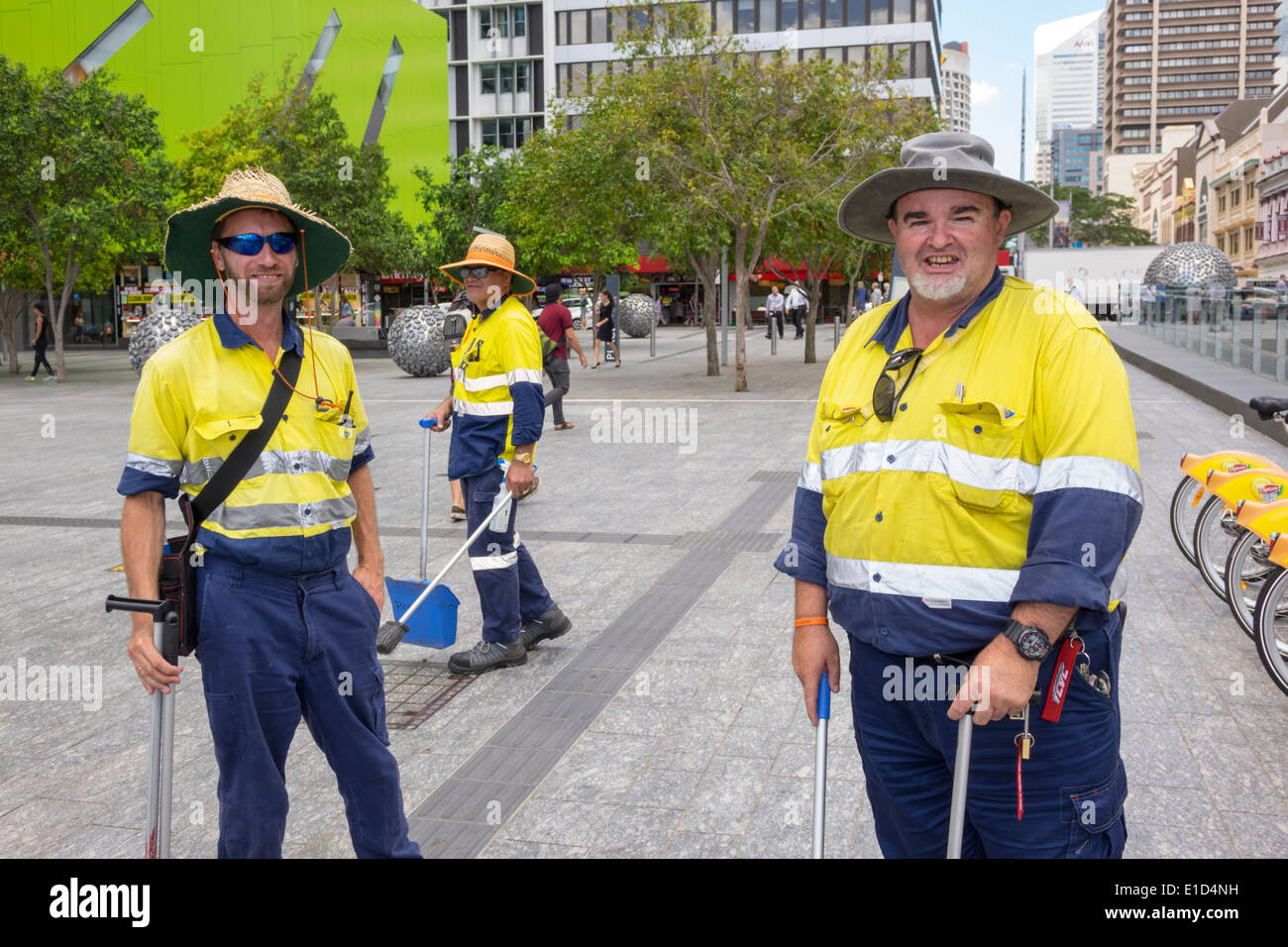 Brisbane Australia Queensland Central Business District CBD Brisbane Square city workers man coworkers street cleaners - Stock Image