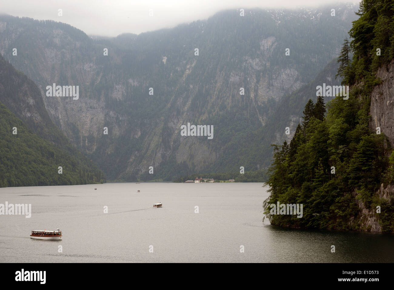 Tourist boats operated by Seen-Schifffahrt on the Konigssee, Bavaria, Germany. - Stock Image