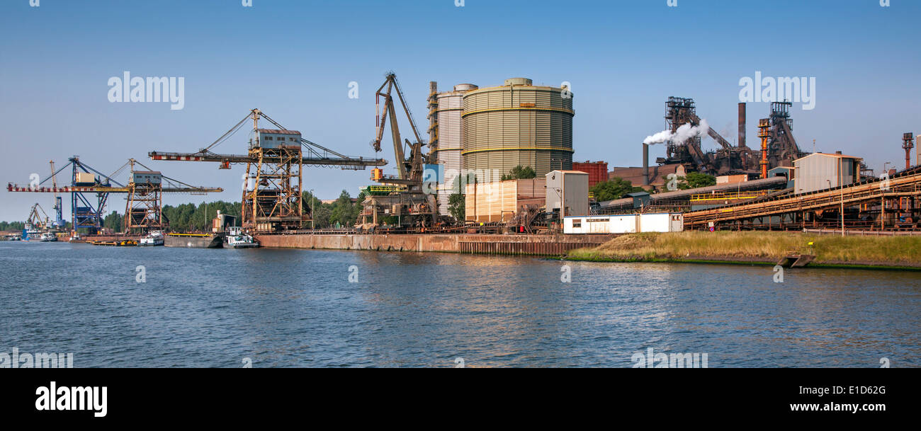 Steelworks of ArcelorMittal, world's largest steel producer, port of Ghent, East Flanders, Belgium - Stock Image
