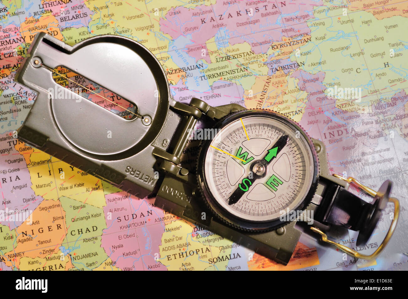 A Magnetic compass on a map of Africa - Stock Image