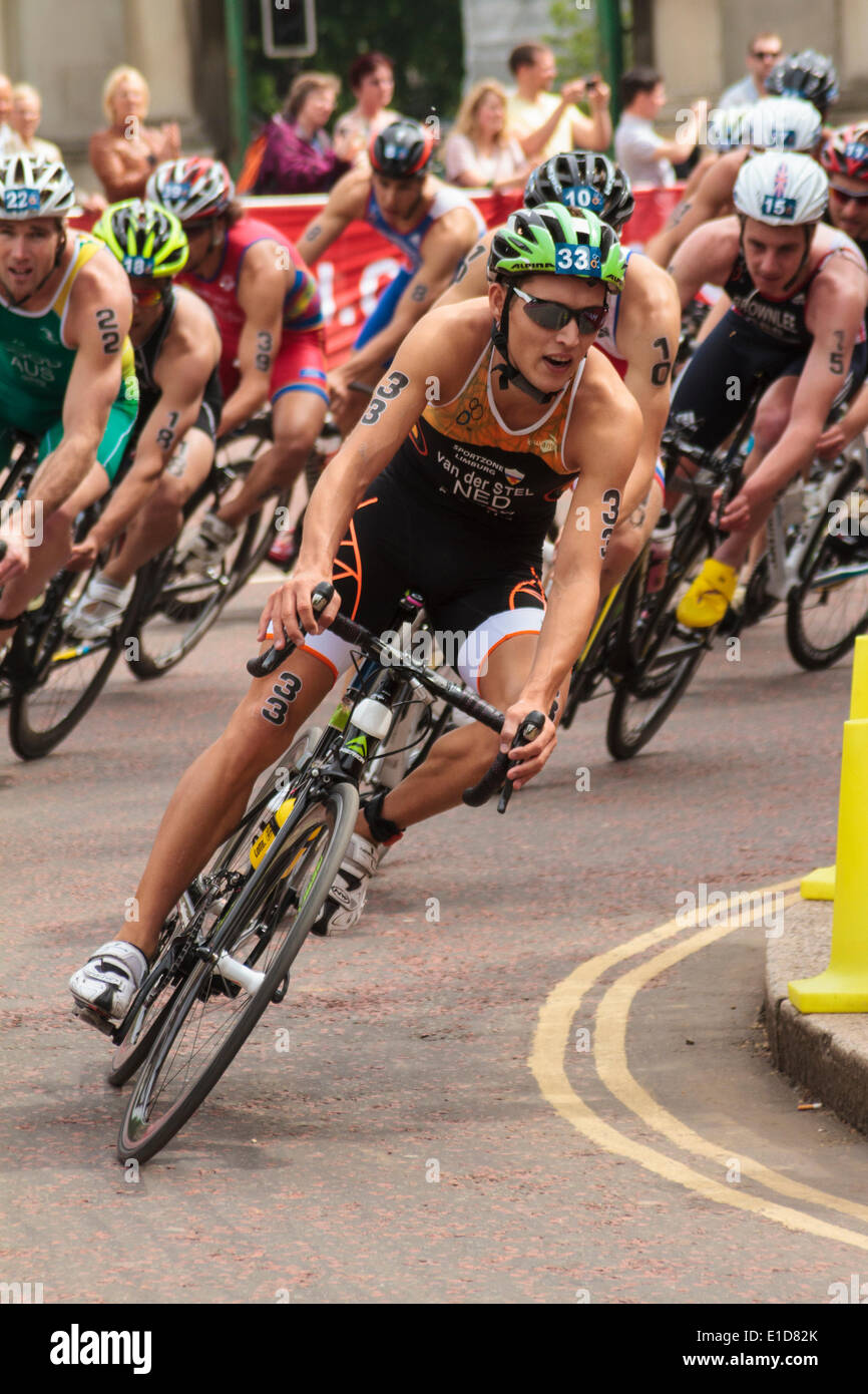 Marco Van Der Stel, (NED) competes in the ITU World Triathlon Series, London UK. 31st May 2014 - Stock Image