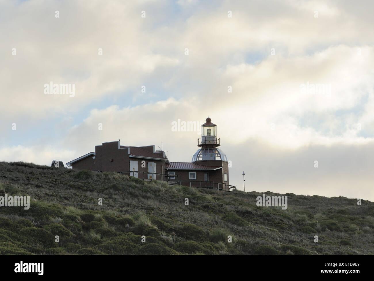 The Cape Horn lighthouse, Faro Monumental Cabo de Hornos, Cape HornCape Horn National Park. Cabo de Hornos, Isla Hornos. Chile - Stock Image