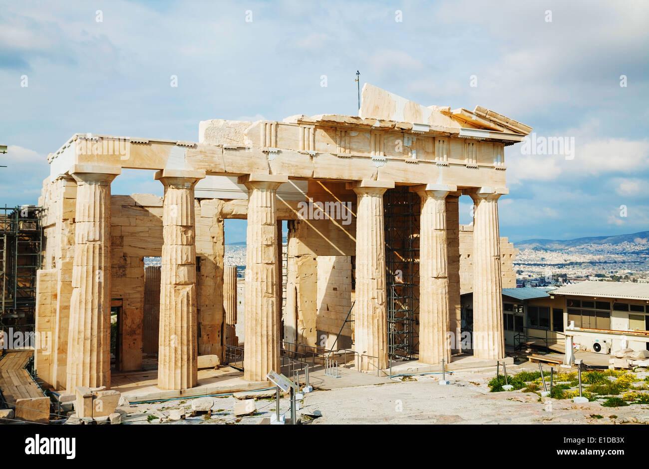 Propylaea facade at Acropolis in Athens, Greece - Stock Image
