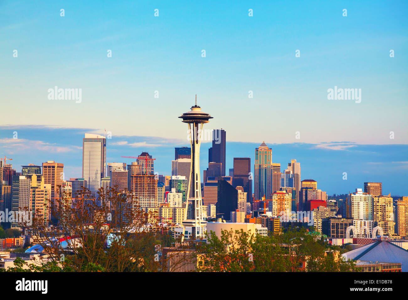 Downtown Seattle as seen from the Kerry park in the evening - Stock Image