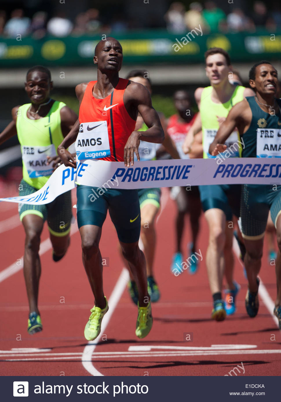 Eugene, OR, USA. 31st May, 2014. Nijel Amos of Botswana wins the Men's 800m at the 2014 Prefontaine Classic with a time of 1:43.63. The Prefontaine Classic, the longest-running international invitational meet in the United States, turns 40 this year.The 2014 elite competition held in Eugene, Oregon at the University of Oregon's historic Hayward Field is in it's 5th year hosting the IAAF's Diamond League event. Credit:  Ken Hawkins/ZUMAPRESS.com/Alamy Live News - Stock Image