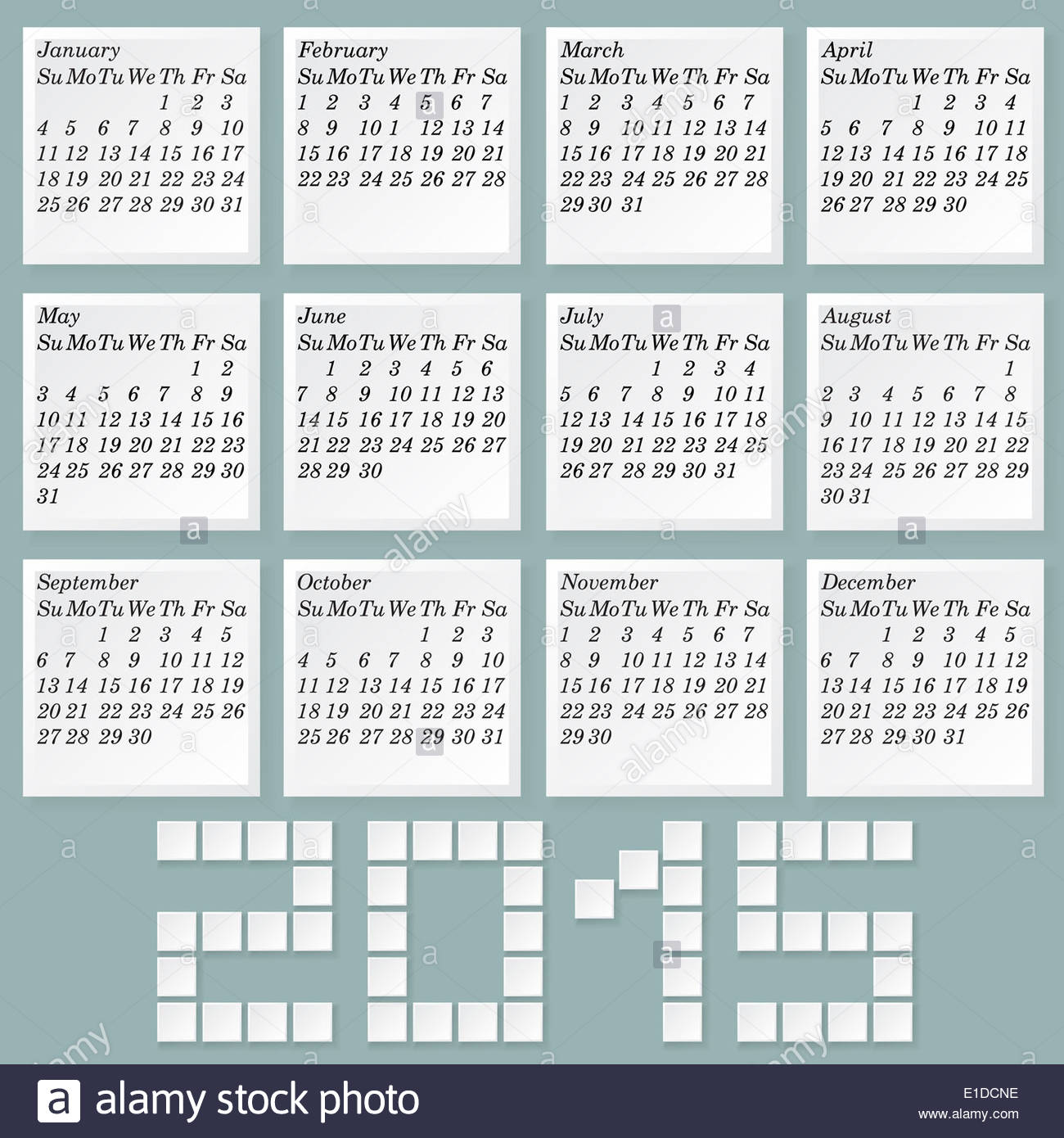 simple 2015 calendar months style notes with shadows week starts with sunday without holidays mark