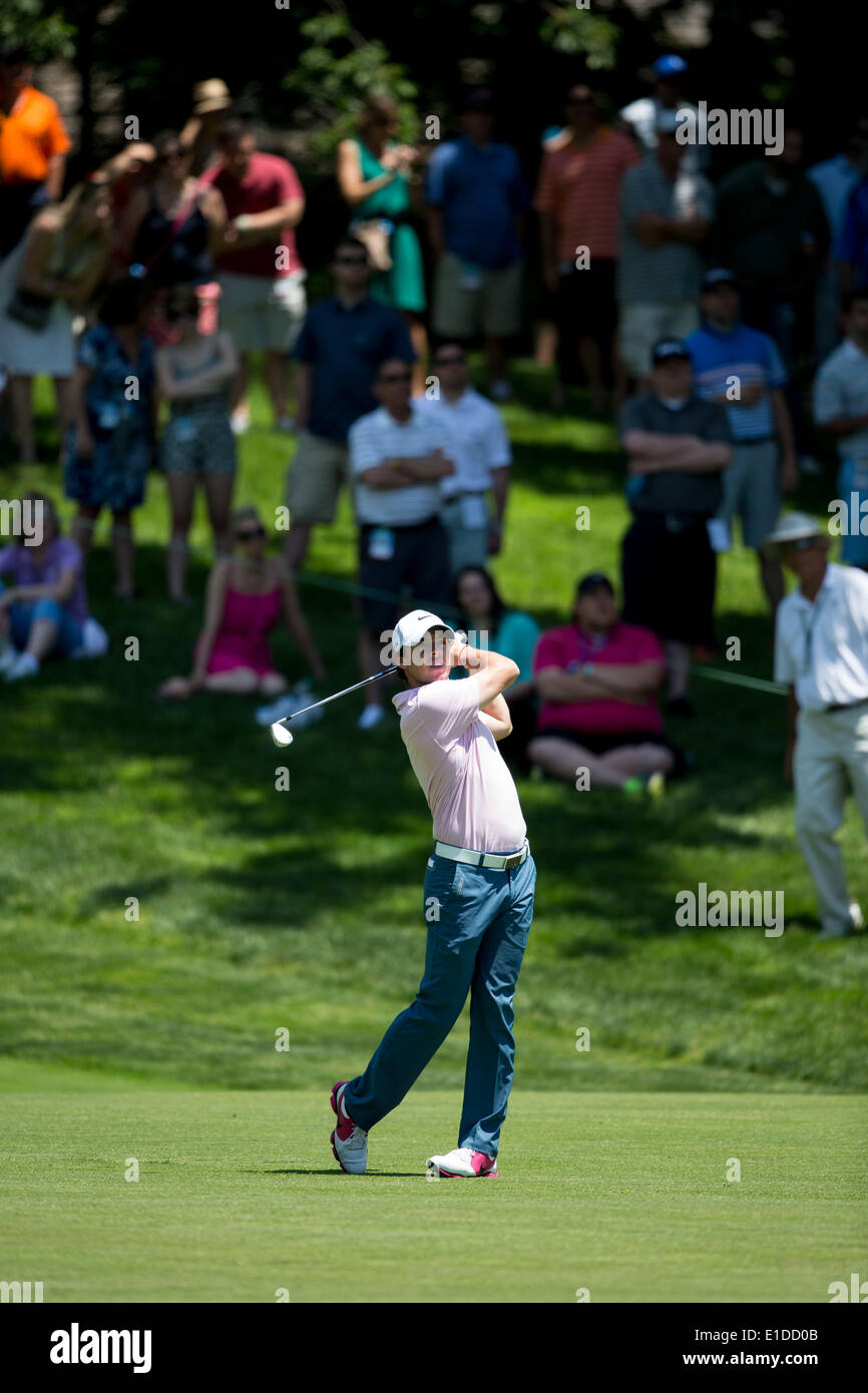 Columbus, USA. 31st May, 2014. Rory McIlroy of Northern Ireland drives the ball off the fairway during the Memorial Tournament at Muirfield Village Golf Club in Dublin, the United States, on May 31, 2014. Credit:  Shen Ting/Xinhua/Alamy Live News - Stock Image