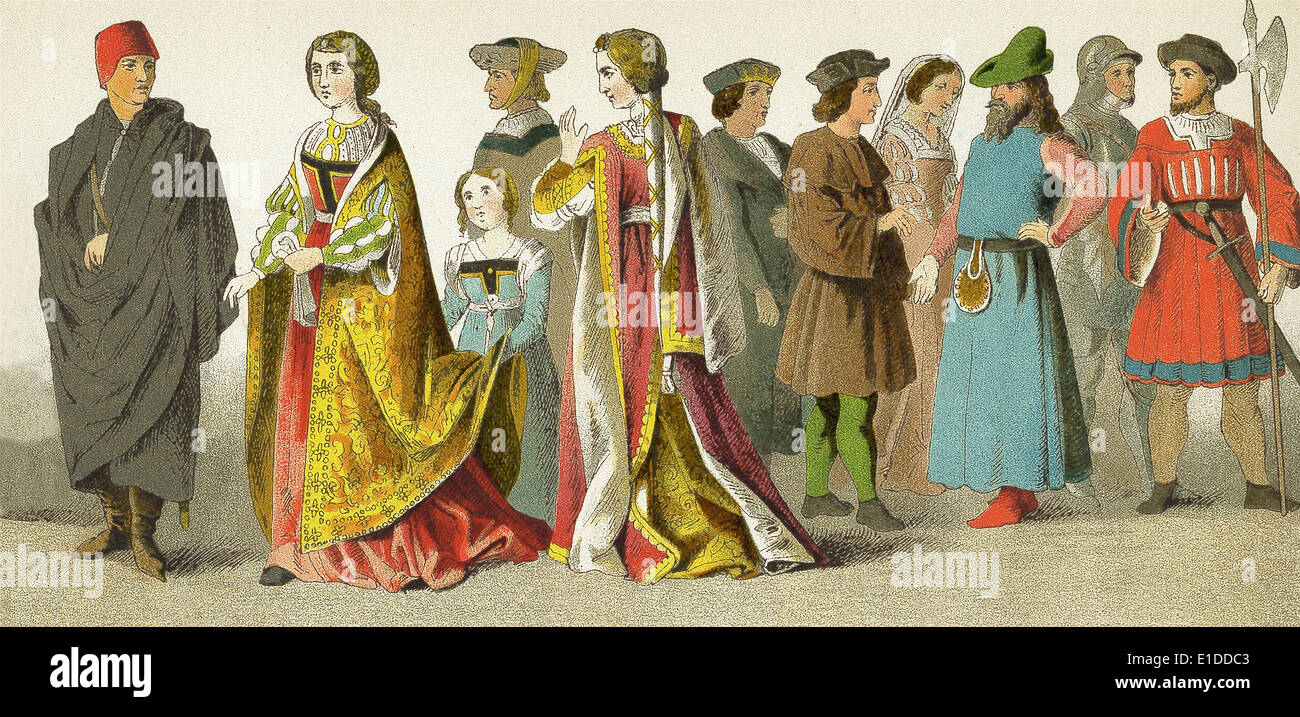 Spanish in 1400s: Henry IV, Princess and attendant, knight, princess, Ferdinand the Catholic, three nobles, knight, soldier. - Stock Image
