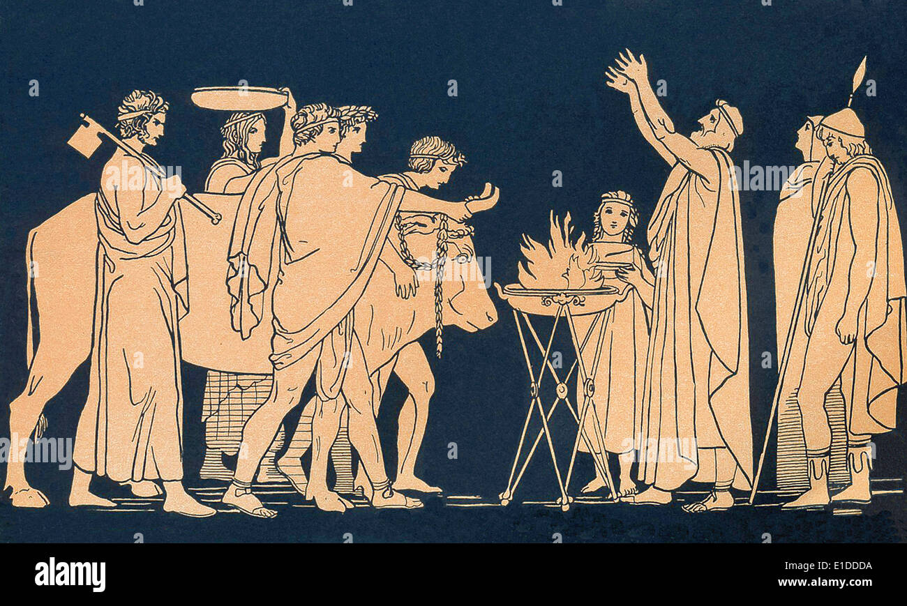 Nestor, the wise old king of Pylos, advises Telemachus and offers a sacrifice to Athena before sending him on his way. - Stock Image