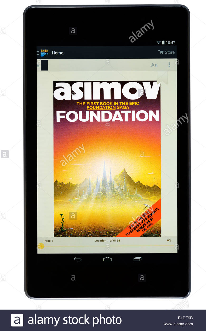 Isaac Asimov digital title Foundation, digital book cover on PC tablet, England - Stock Image