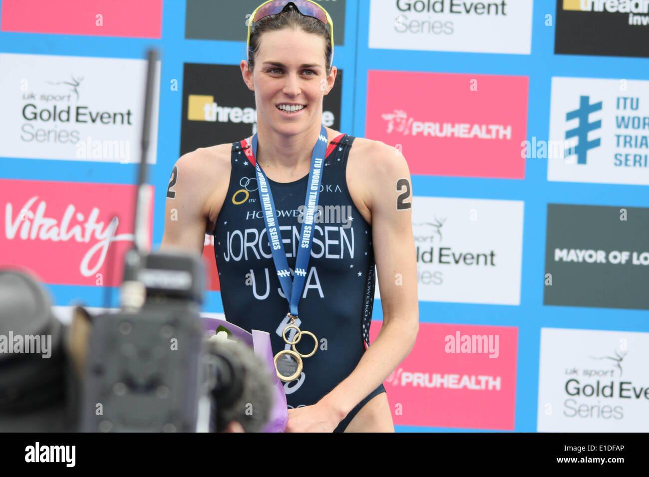 London, UK. 31st May, 2014. Gwen Jorgensen winas the  women elite ITU Triathlon Credit:  petericardo lusabia/Alamy Stock Photo