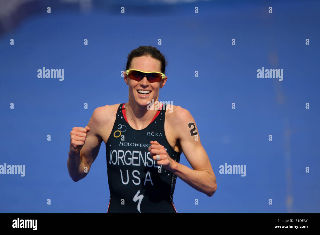 London, UK. 31st May, 2014. Gwen Jorgensen of USA wins the women elite ITU Triathlon held in London. Credit:  petericardo Stock Photo