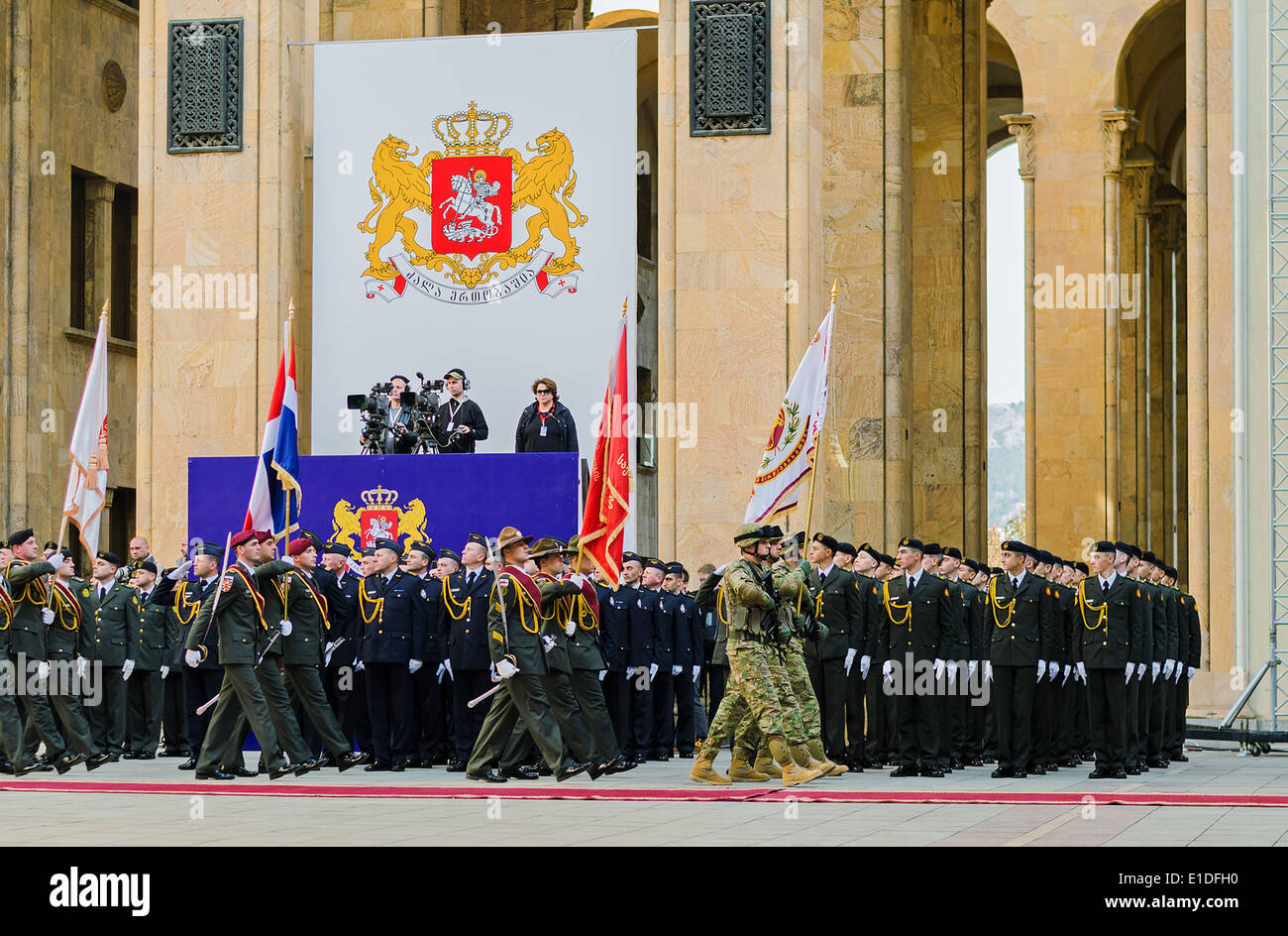 marching soldiers in the ceremonies anauguratsy the President of Georgia - Stock Image