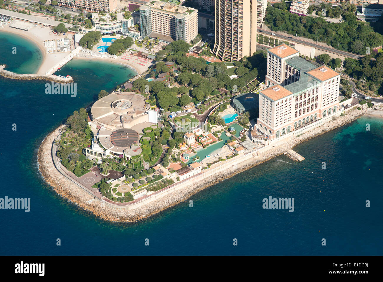 MONTE-CARLO BAY HOTEL AND RESORT (built on reclaimed land) (aerial view). Larvotto, Principality of Monaco. - Stock Image
