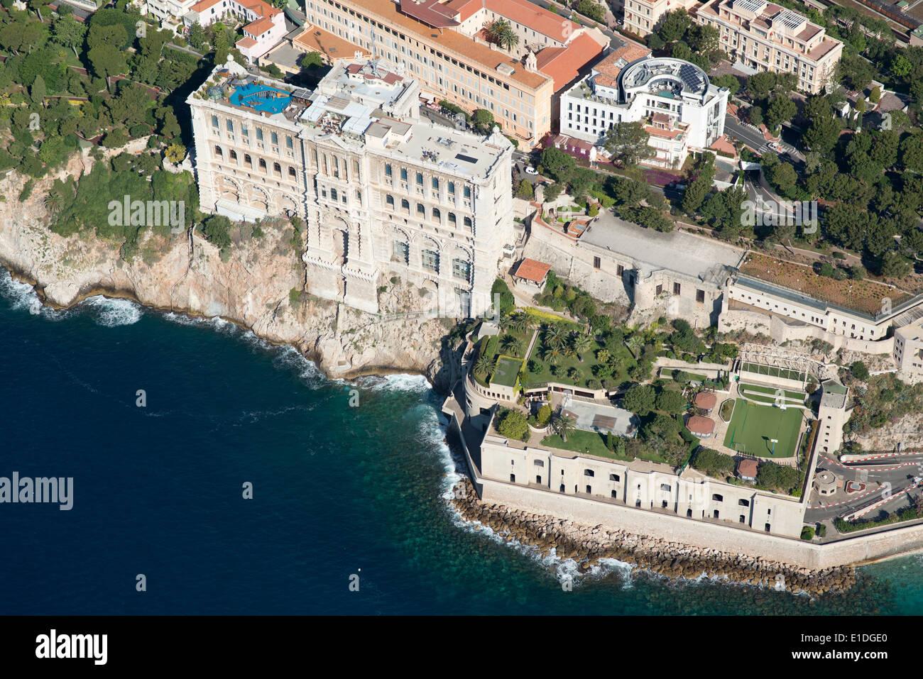 OCEANOGRAPHIC MUSEUM (aerial view). Monaco-Ville (aka The Rock), Principality of Monaco. - Stock Image