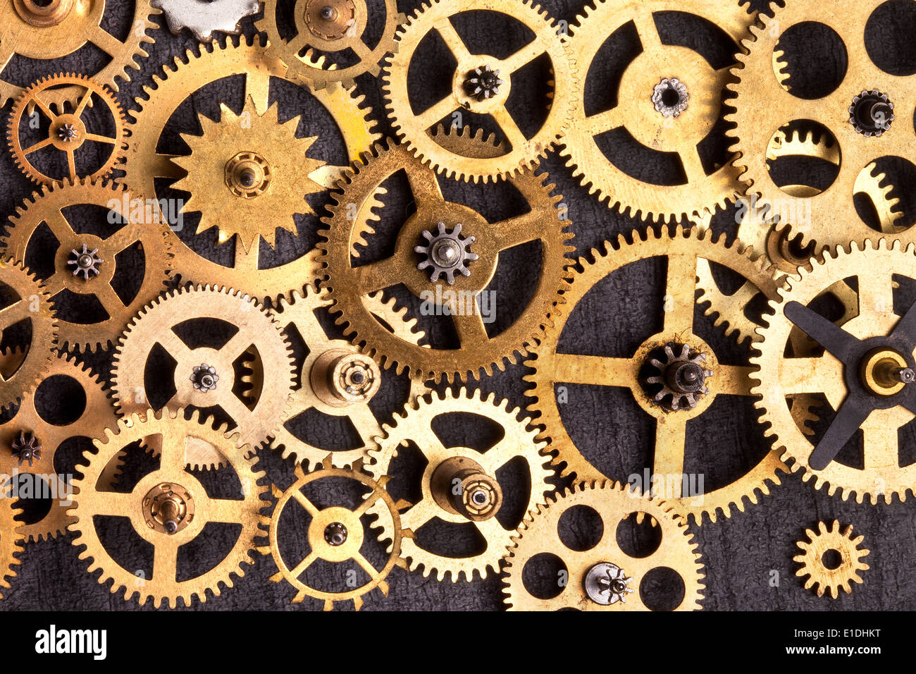 selection of old brass clockwork cogs stock photo 69755388 alamy