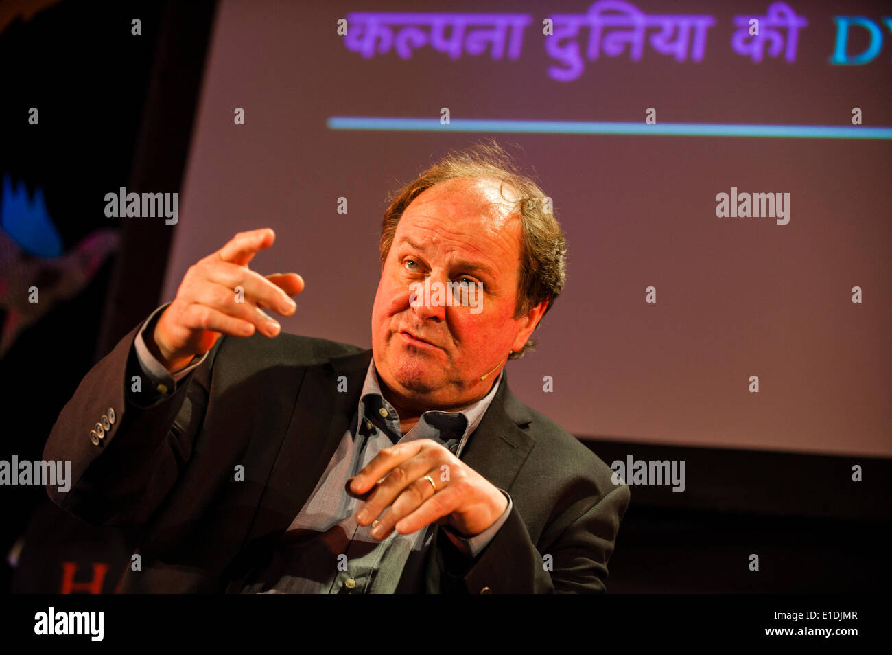 Hay-on-Wye, Powys, UK. 1st June, 2014. The broadcaster James Naughtie introduces his first novel, a rivetting espionage thriller set in the 1970's Westminster at the height of the cold war, on the last day of the 27th Hay Festival of Literature and Arts 2014. Credit:  Graham M. Lawrence/Alamy Live News. - Stock Image