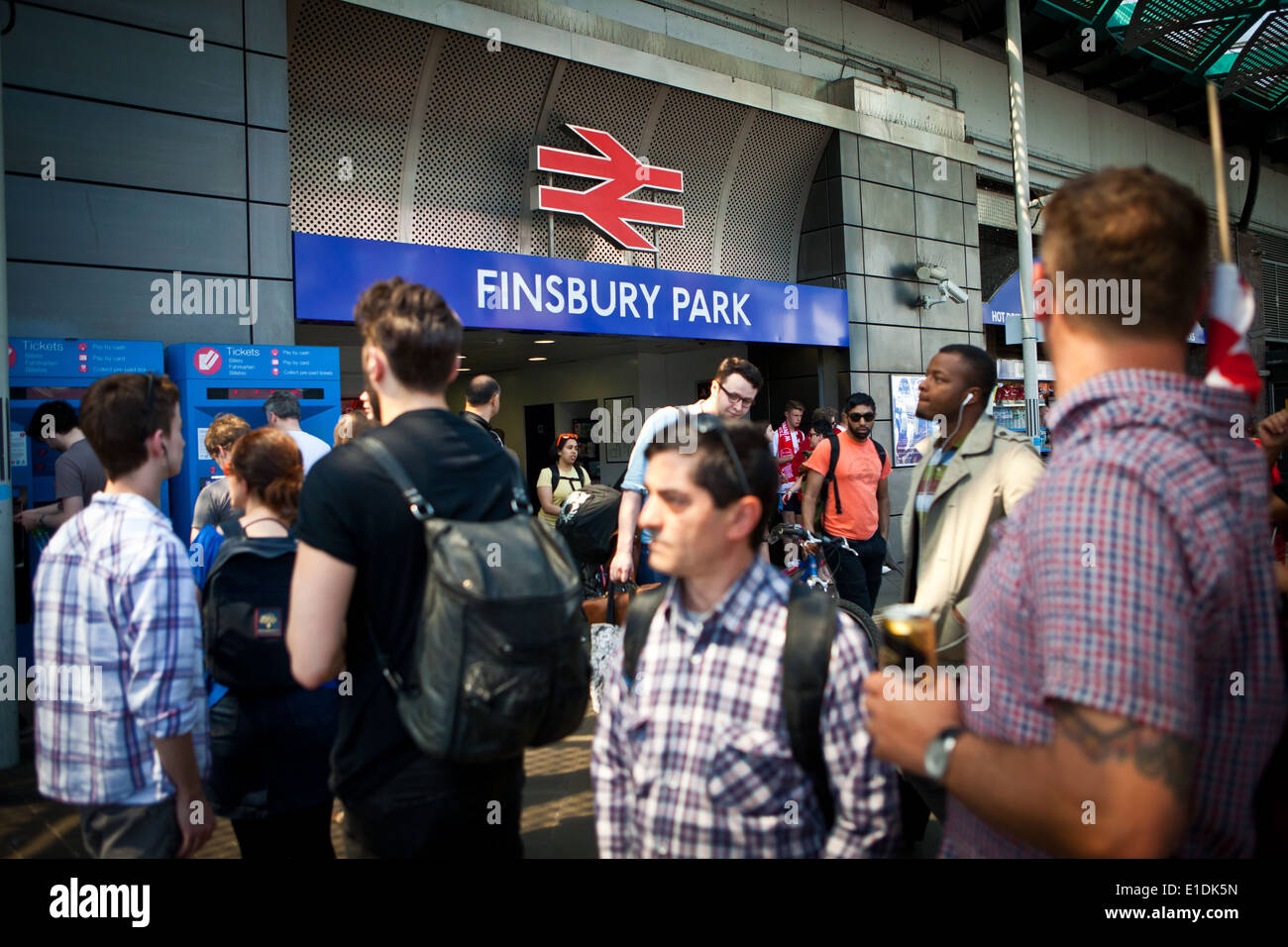 Entrance to Finsbury Park Station - Stock Image