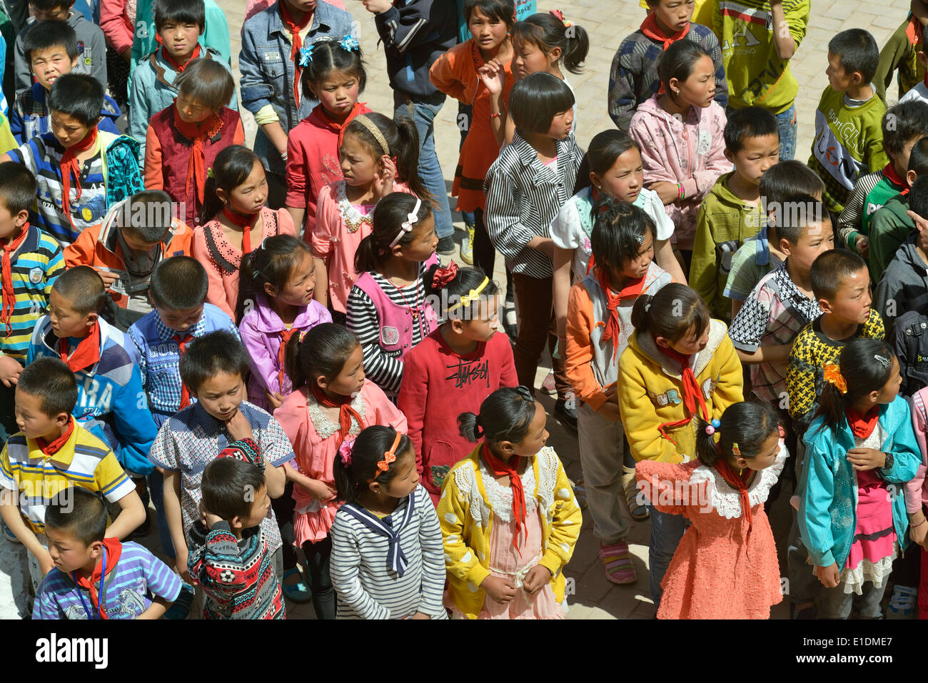 Primary school students rehearse before Children's Day in Tongxin, Ningxia Hui Autonomous Region, China. 05-28-2014 - Stock Image