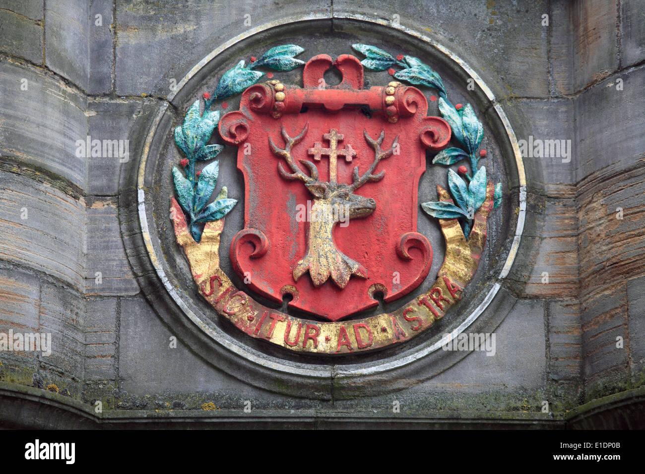 UK, Scotland, Edinburgh, Mercat Cross, medallion, - Stock Image
