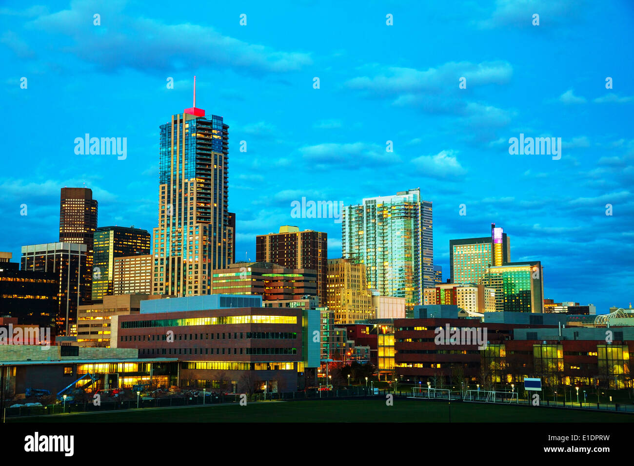 Downtown Denver, Colorado at the night time - Stock Image