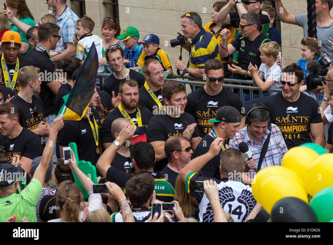 Northampton. Sunday 1st June 2014. The Guild Hall, The Northampton Saints players and coaching staff parade the Aviva Premiership Champions trophy won yesterday 2014-05-31 and Amlin Challenge Cup into the town centre to celebrate a historic double success with their fans. Credit:  Keith J Smith./Alamy Live News - Stock Image