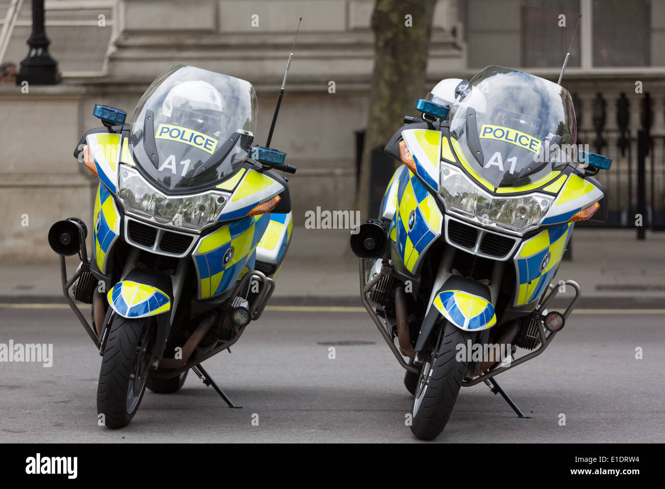 Two Metropolitan Police motorbikes on stands in London - Stock Image